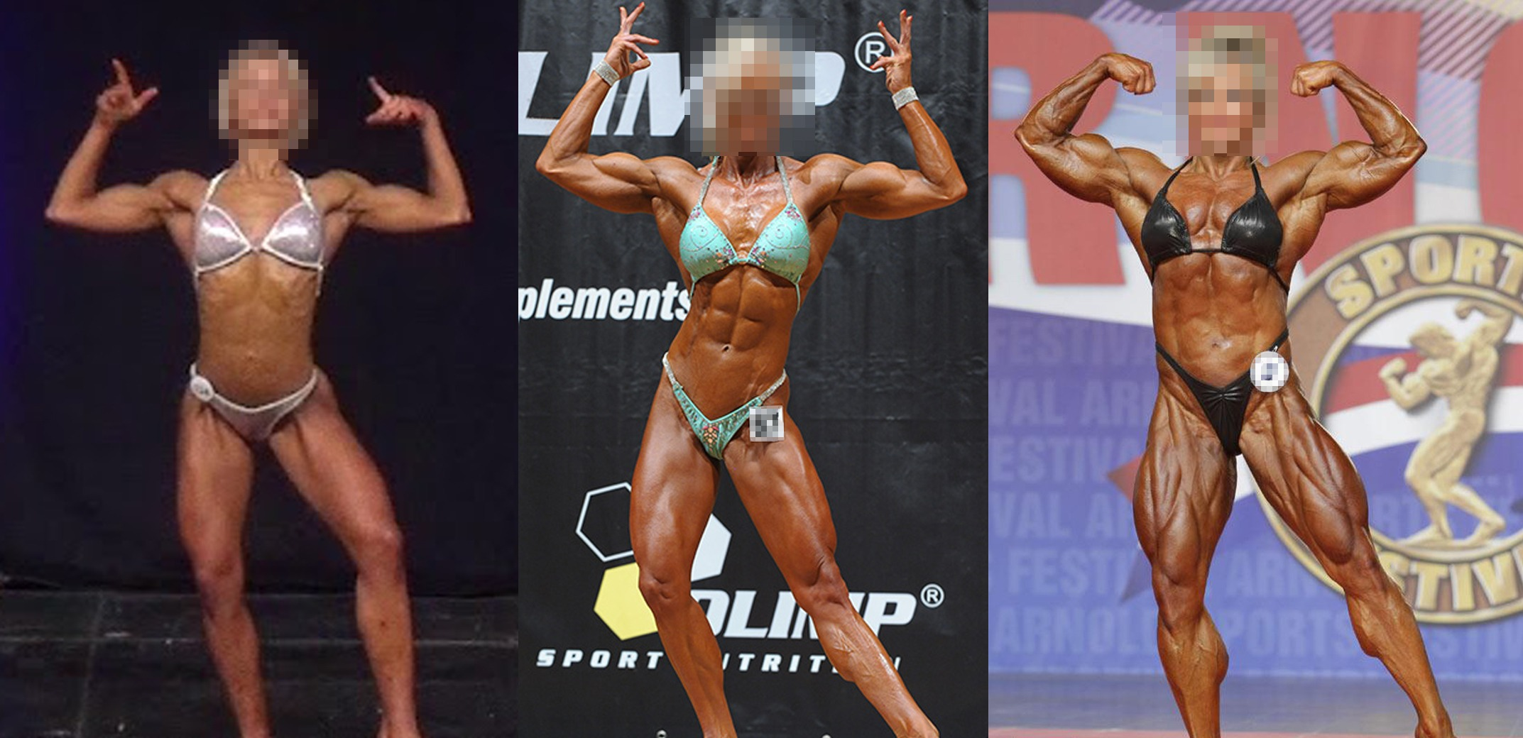 female bodybuilding with and without steroids